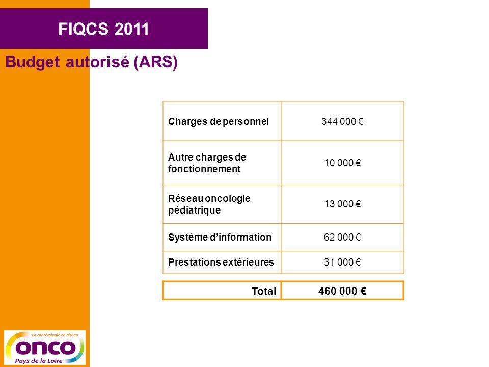 FIQCS 2011 Budget autorisé (ARS) Charges de personnel344 000 Autre charges de fonctionnement 10 000 Réseau oncologie pédiatrique 13 000 Système dinformation62 000 Prestations extérieures31 000 Total460 000