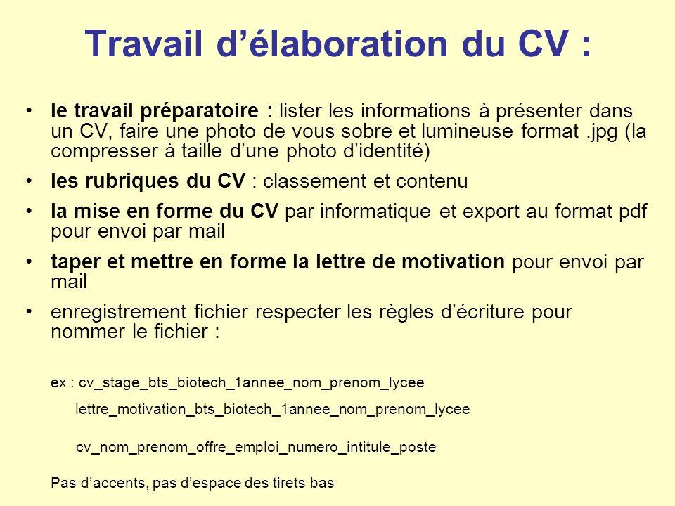 Travail délaboration du CV : le travail préparatoire : lister les informations à présenter dans un CV, faire une photo de vous sobre et lumineuse format.jpg (la compresser à taille dune photo didentité) les rubriques du CV : classement et contenu la mise en forme du CV par informatique et export au format pdf pour envoi par mail taper et mettre en forme la lettre de motivation pour envoi par mail enregistrement fichier respecter les règles décriture pour nommer le fichier : ex : cv_stage_bts_biotech_1annee_nom_prenom_lycee lettre_motivation_bts_biotech_1annee_nom_prenom_lycee cv_nom_prenom_offre_emploi_numero_intitule_poste Pas daccents, pas despace des tirets bas