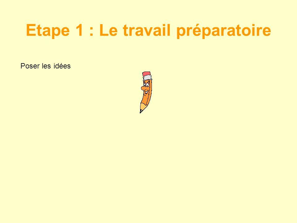 Etape 1 : Le travail préparatoire Poser les idées