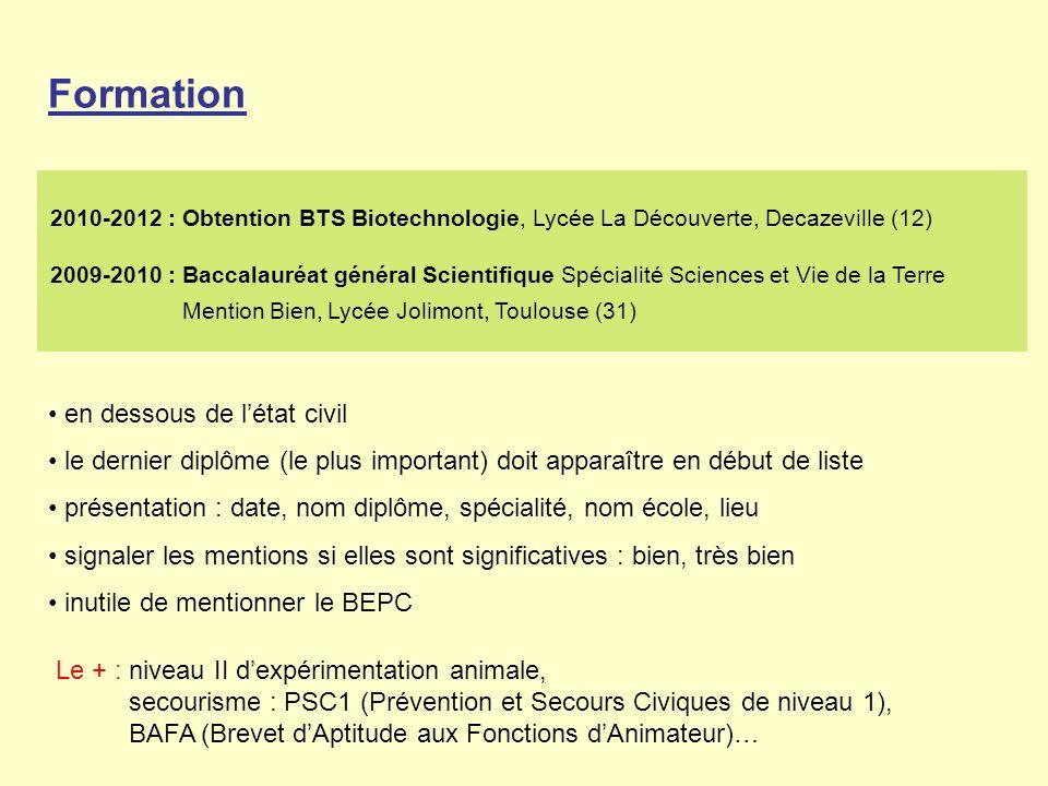 Formation en dessous de létat civil le dernier diplôme (le plus important) doit apparaître en début de liste présentation : date, nom diplôme, spécialité, nom école, lieu signaler les mentions si elles sont significatives : bien, très bien inutile de mentionner le BEPC 2010-2012 : Obtention BTS Biotechnologie, Lycée La Découverte, Decazeville (12) 2009-2010 : Baccalauréat général Scientifique Spécialité Sciences et Vie de la Terre Mention Bien, Lycée Jolimont, Toulouse (31) Le + : niveau II dexpérimentation animale, secourisme : PSC1 (Prévention et Secours Civiques de niveau 1), BAFA (Brevet dAptitude aux Fonctions dAnimateur)…