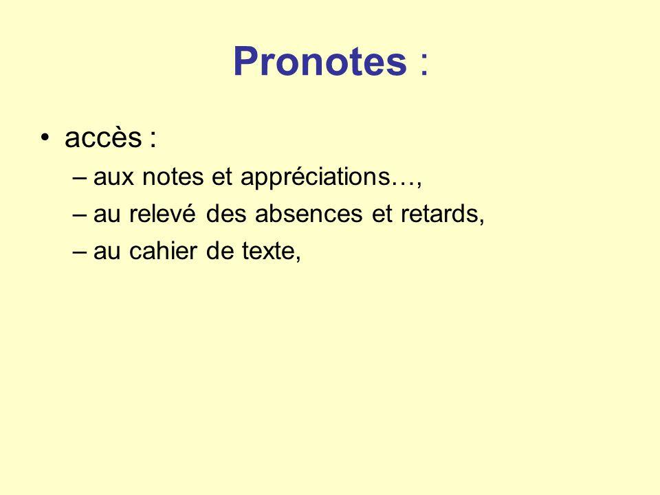 Pronotes : accès : –aux notes et appréciations…, –au relevé des absences et retards, –au cahier de texte,