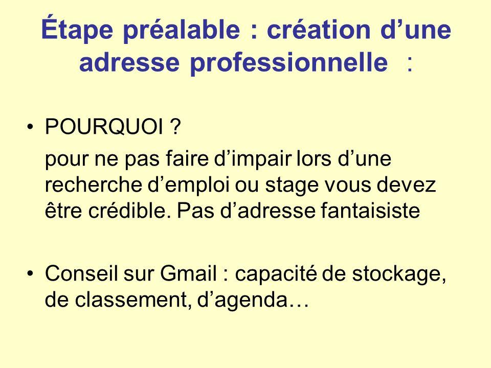 Étape préalable : création dune adresse professionnelle : POURQUOI .