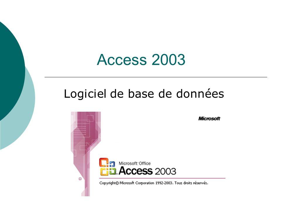 Access 2003 Logiciel de base de données