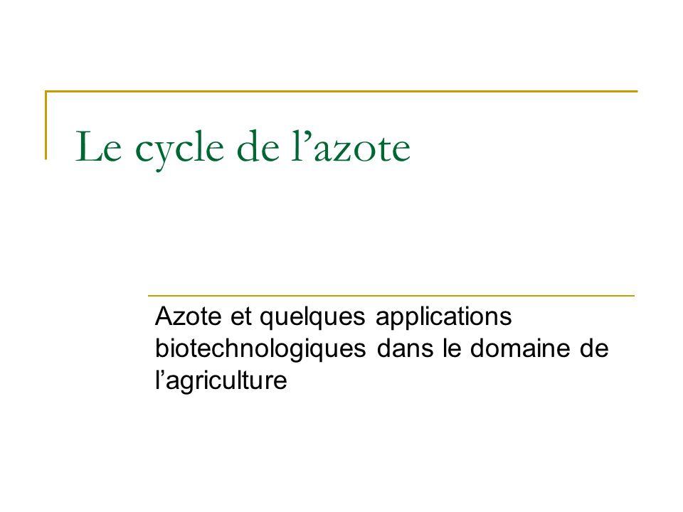Le cycle de lazote Azote et quelques applications biotechnologiques dans le domaine de lagriculture