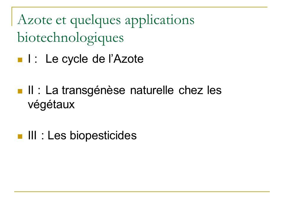 Azote et quelques applications biotechnologiques I : Le cycle de lAzote II :La transgénèse naturelle chez les végétaux III : Les biopesticides