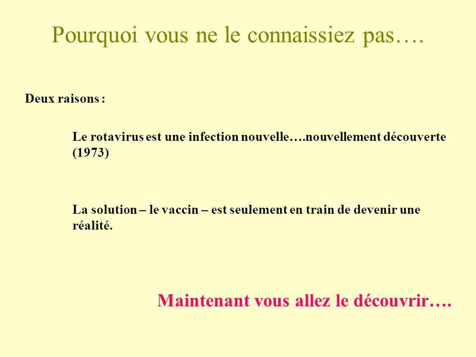 Pourquoi vous ne le connaissiez pas…. Deux raisons : Le rotavirus est une infection nouvelle….nouvellement découverte (1973) La solution – le vaccin –