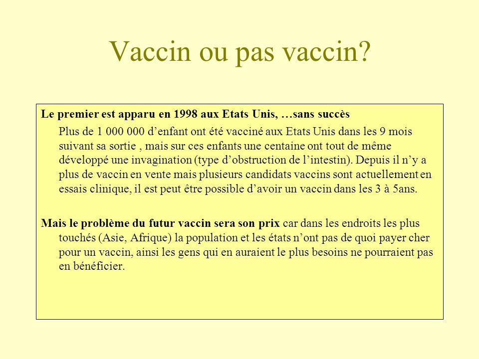 Vaccin ou pas vaccin? Le premier est apparu en 1998 aux Etats Unis, …sans succès Plus de 1 000 000 denfant ont été vacciné aux Etats Unis dans les 9 m