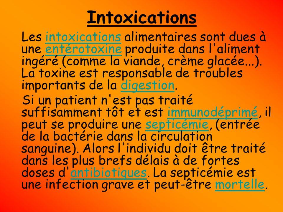 Intoxications Les intoxications alimentaires sont dues à une entérotoxine produite dans l'aliment ingéré (comme la viande, crème glacée...). La toxine