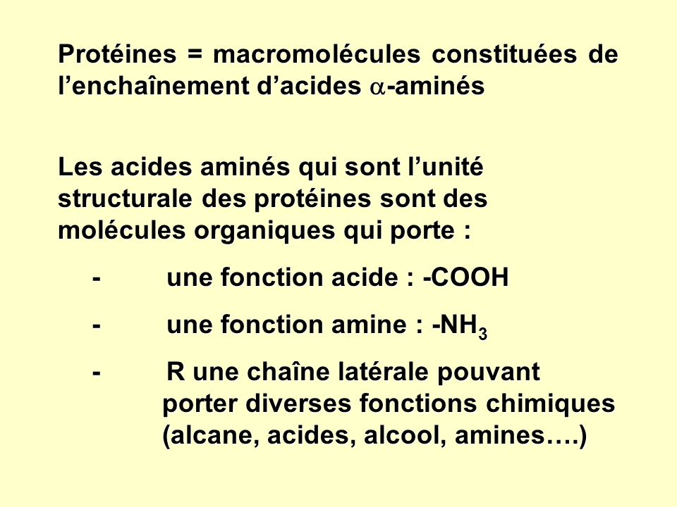 Protéines = macromolécules constituées de lenchaînement dacides -aminés Les acides aminés qui sont lunité structurale des protéines sont des molécules organiques qui porte : - une fonction acide : -COOH - une fonction amine : -NH 3 - R une chaîne latérale pouvant porter diverses fonctions chimiques (alcane, acides, alcool, amines….)