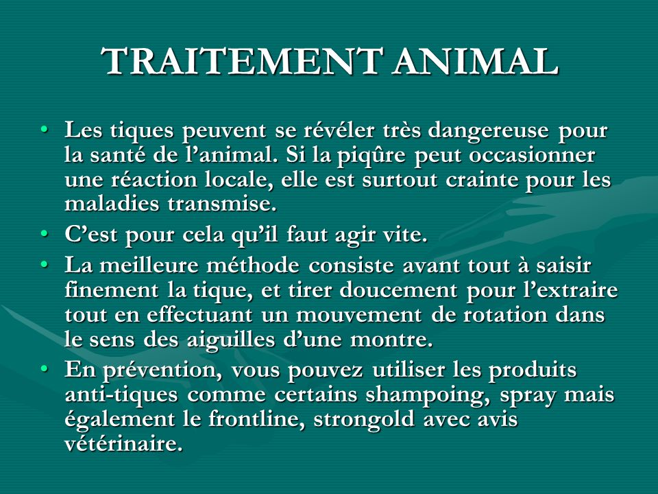 TRAITEMENT ANIMAL Les tiques peuvent se révéler très dangereuse pour la santé de lanimal. Si la piqûre peut occasionner une réaction locale, elle est