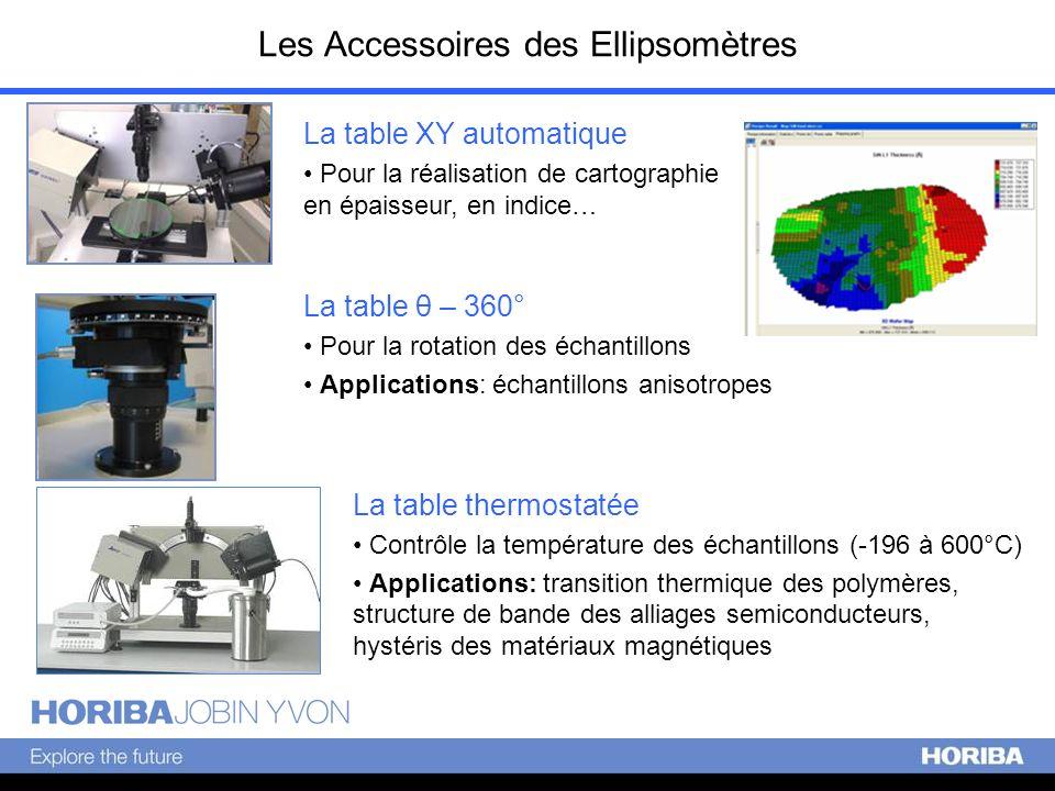 Les Accessoires des Ellipsomètres La table XY automatique Pour la réalisation de cartographie en épaisseur, en indice… La table XY automatique Pour la