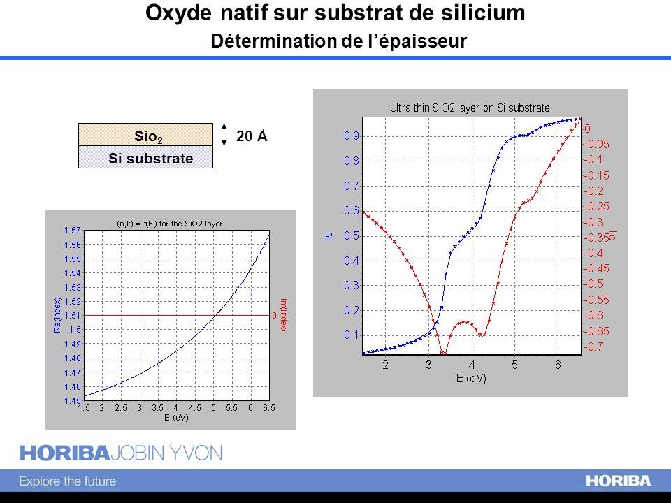 Oxyde natif sur substrat de silicium Détermination de lépaisseur Si substrate Sio 2 20 Å