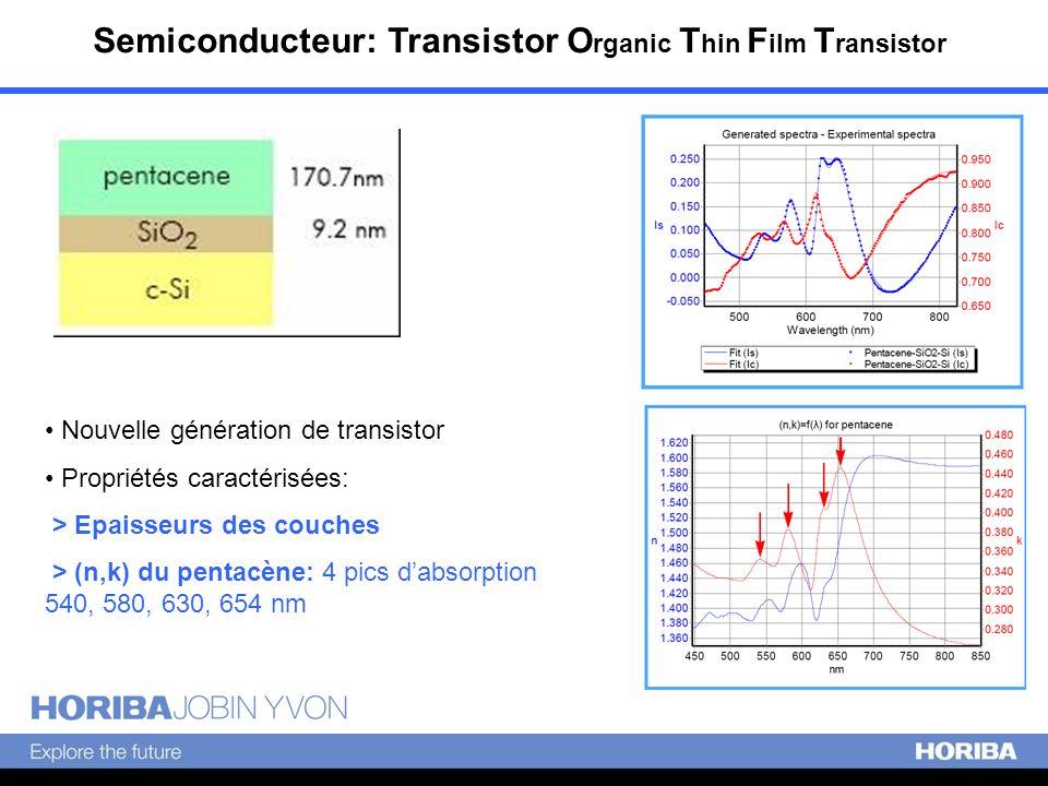 Semiconducteur: Transistor O rganic T hin F ilm T ransistor Nouvelle génération de transistor Propriétés caractérisées: > Epaisseurs des couches > (n,