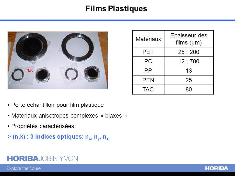 Films Plastiques Porte échantillon pour film plastique Matériaux anisotropes complexes « biaxes » Propriétés caractérisées: > (n,k) : 3 indices optiqu
