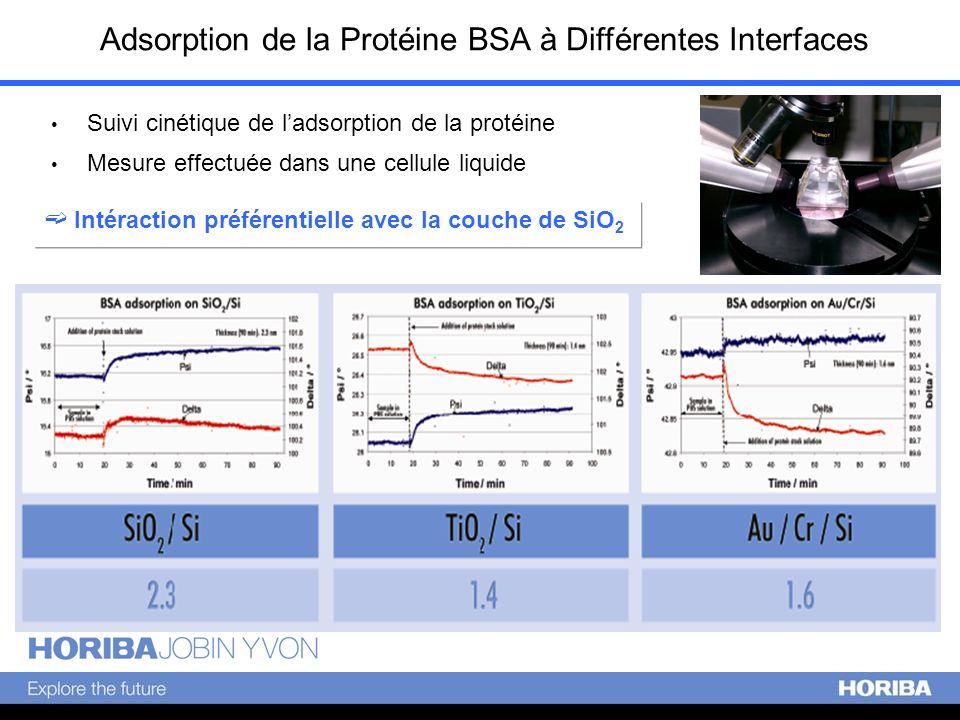 Adsorption de la Protéine BSA à Différentes Interfaces Suivi cinétique de ladsorption de la protéine Mesure effectuée dans une cellule liquide Intérac