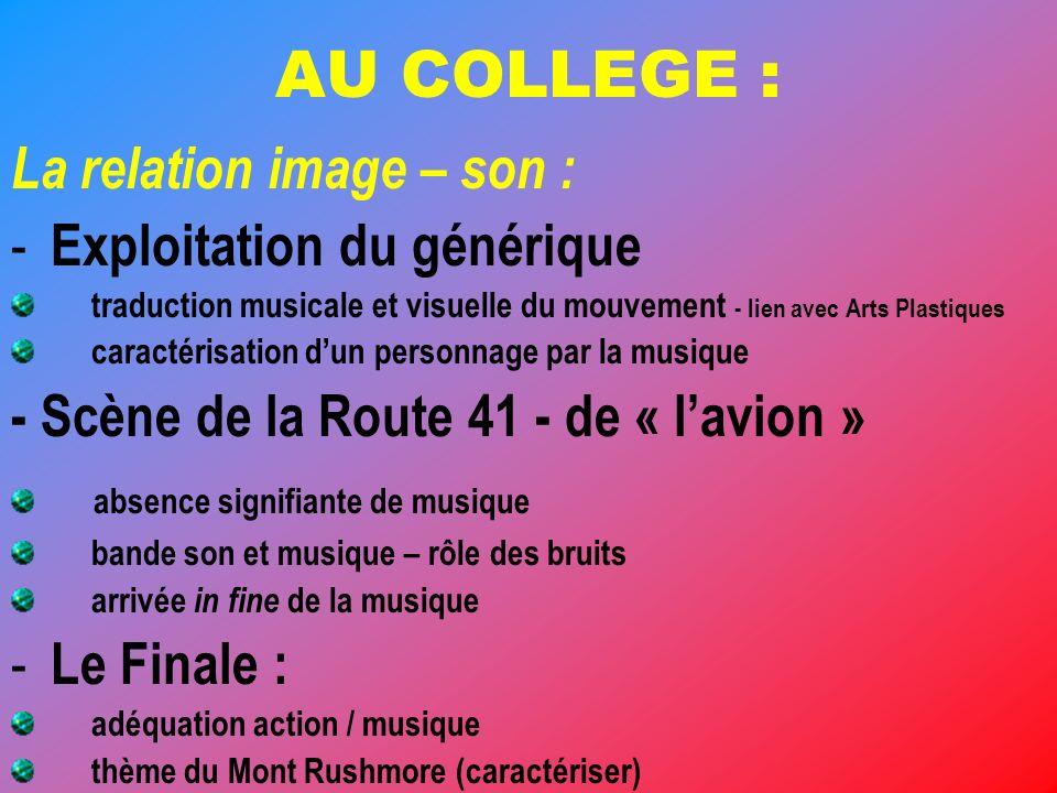 AU COLLEGE : La relation image – son : - Exploitation du générique traduction musicale et visuelle du mouvement - lien avec Arts Plastiques caractéris