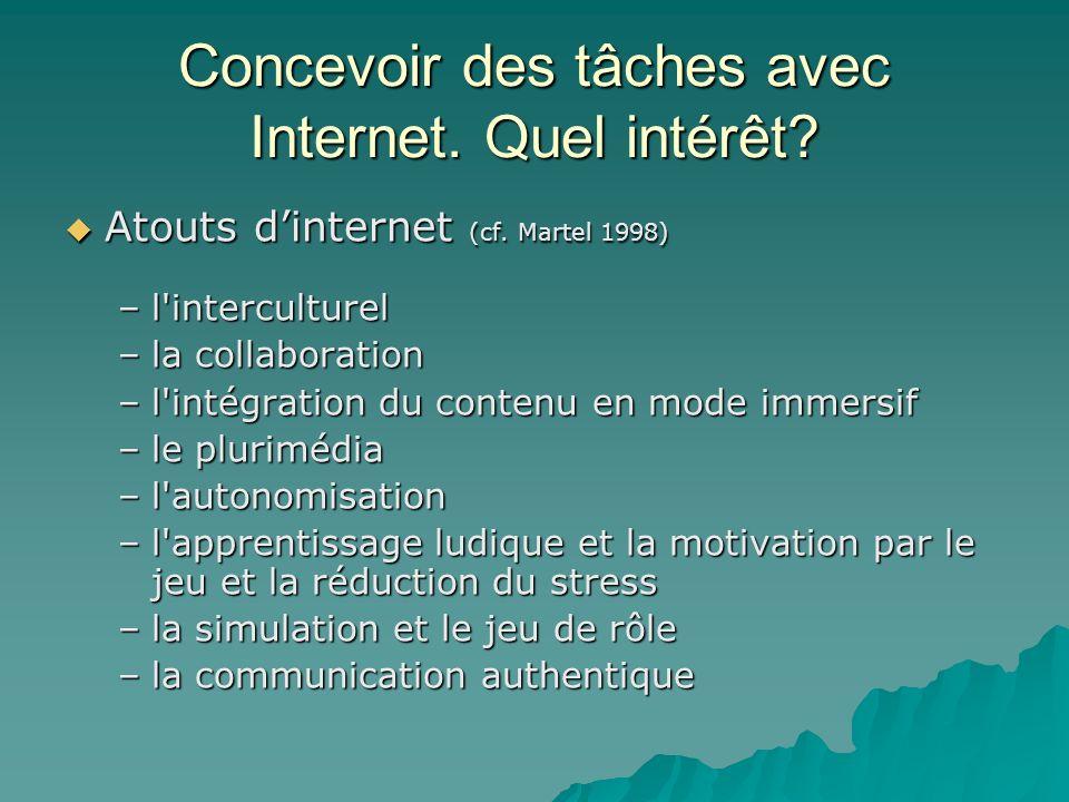 Concevoir des tâches avec Internet. Quel intérêt? Atouts dinternet (cf. Martel 1998) Atouts dinternet (cf. Martel 1998) –l'interculturel –la collabora