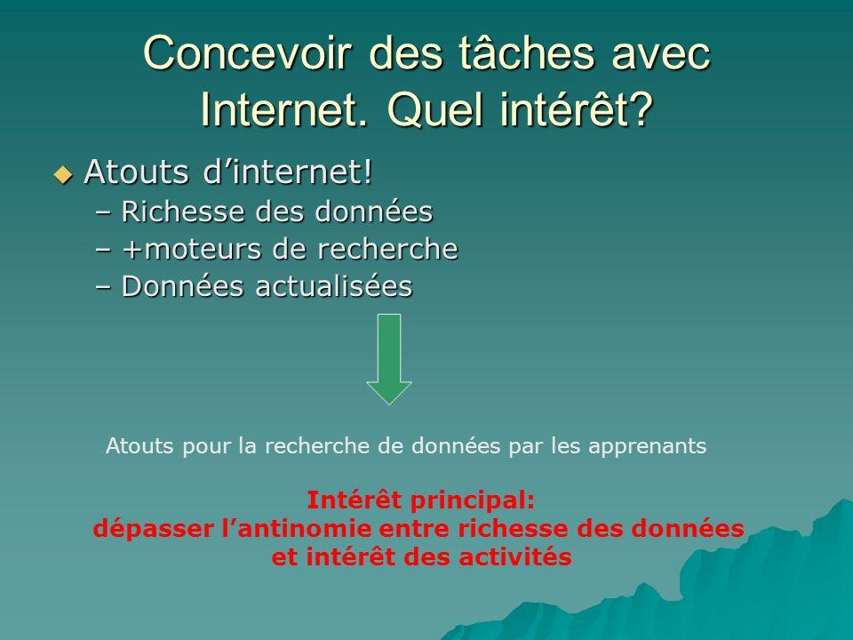 Concevoir des tâches avec Internet. Quel intérêt? Atouts dinternet! Atouts dinternet! –Richesse des données –+moteurs de recherche –Données actualisée