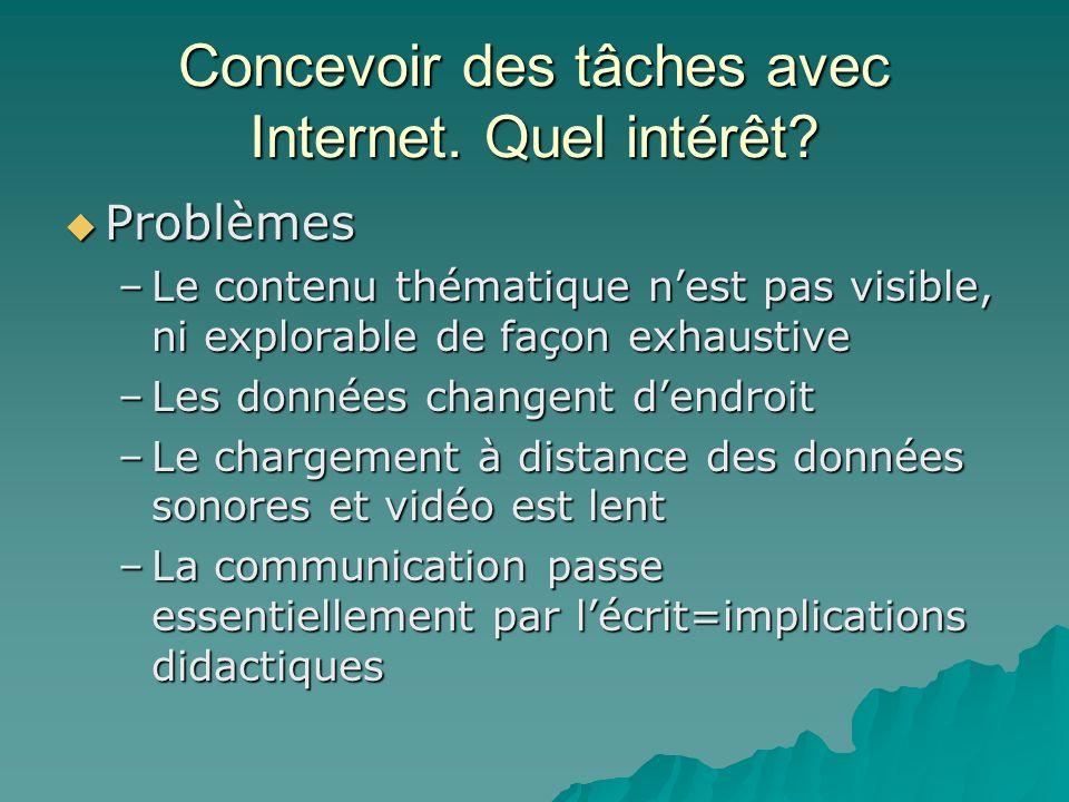 Concevoir des tâches avec Internet. Quel intérêt? Problèmes Problèmes –Le contenu thématique nest pas visible, ni explorable de façon exhaustive –Les