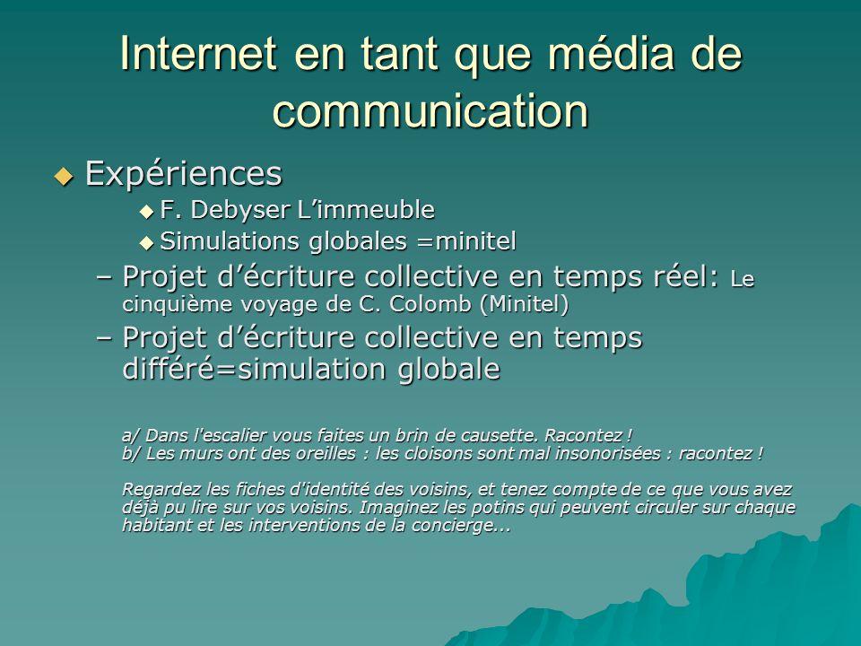 Internet en tant que média de communication Expériences Expériences F. Debyser Limmeuble F. Debyser Limmeuble Simulations globales =minitel Simulation