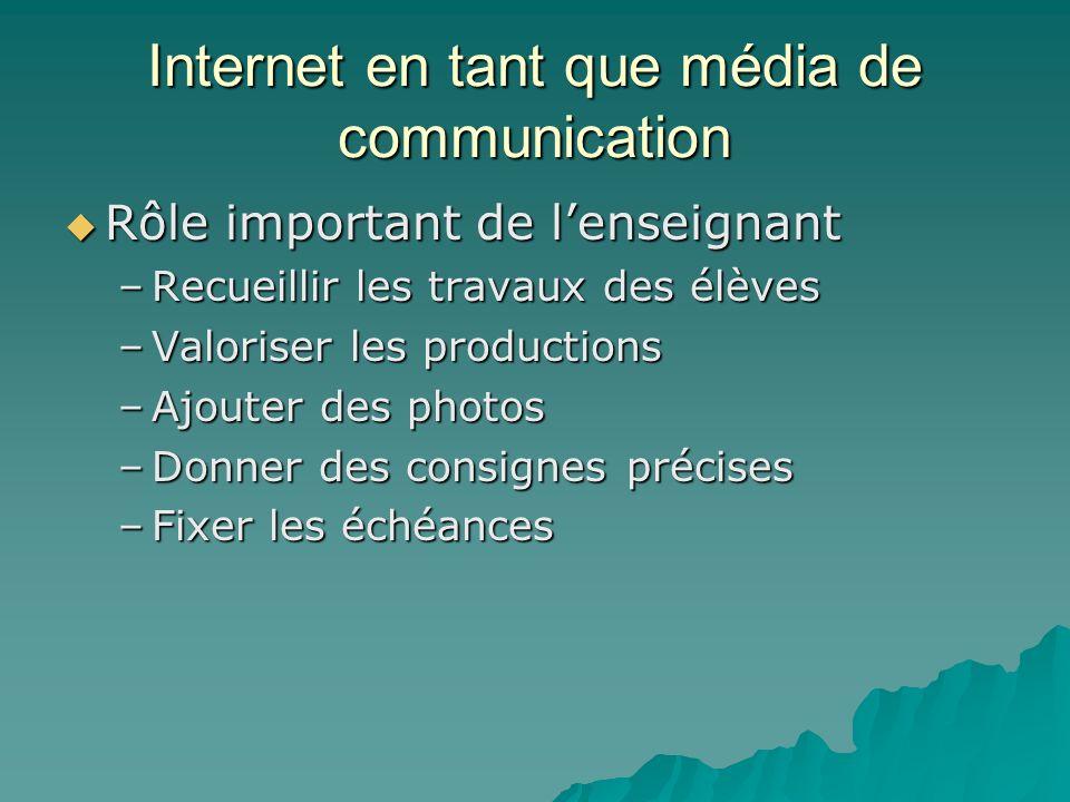 Internet en tant que média de communication Rôle important de lenseignant Rôle important de lenseignant –Recueillir les travaux des élèves –Valoriser