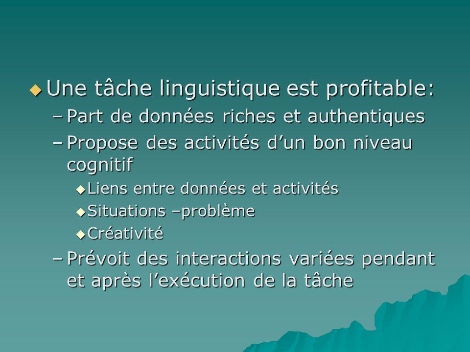 Une tâche linguistique est profitable: Une tâche linguistique est profitable: –Part de données riches et authentiques –Propose des activités dun bon n