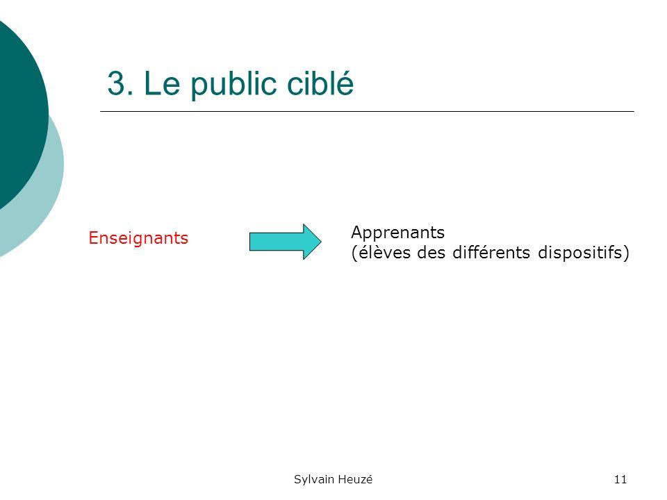 Sylvain Heuzé11 3. Le public ciblé Enseignants Apprenants (élèves des différents dispositifs)
