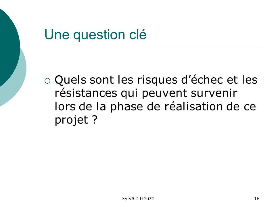 Sylvain Heuzé18 Une question clé Quels sont les risques déchec et les résistances qui peuvent survenir lors de la phase de réalisation de ce projet