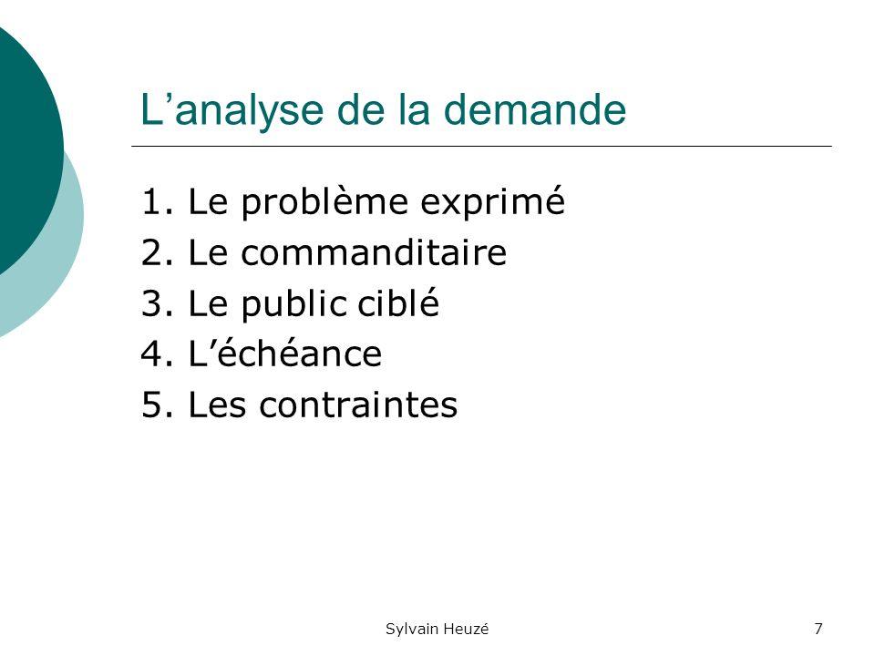 Sylvain Heuzé7 Lanalyse de la demande 1.Le problème exprimé 2.