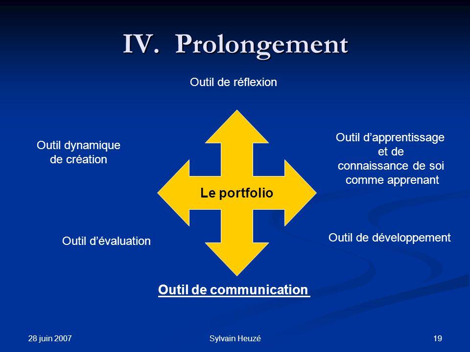 28 juin 2007 19Sylvain Heuzé IV.Prolongement Le portfolio Outil de réflexion Outil dapprentissage et de connaissance de soi comme apprenant Outil dynamique de création Outil dévaluation Outil de communication Outil de développement