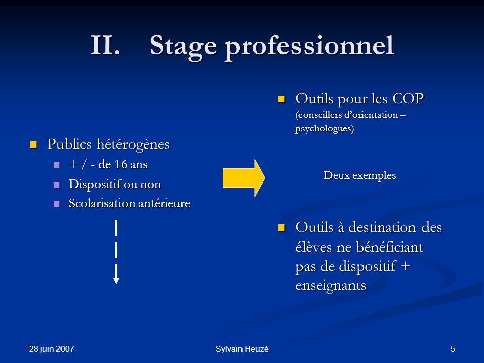 28 juin 2007 5Sylvain Heuzé II.Stage professionnel Publics hétérogènes Publics hétérogènes + / - de 16 ans + / - de 16 ans Dispositif ou non Dispositi