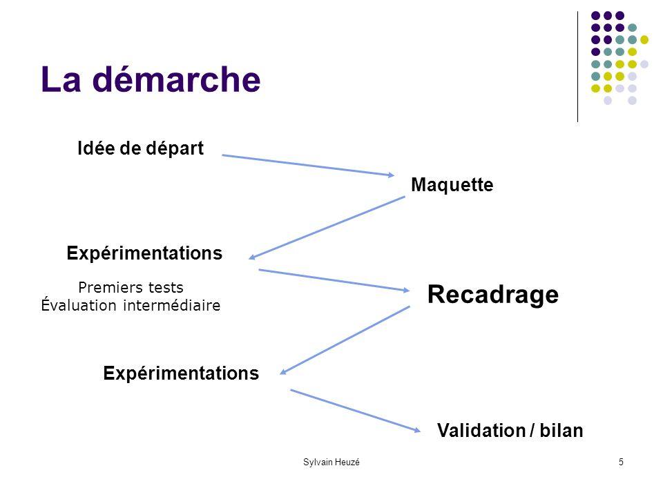 Sylvain Heuzé5 La démarche Idée de départ Maquette Expérimentations Recadrage Expérimentations Validation / bilan Premiers tests Évaluation intermédiaire