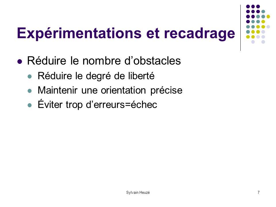 Sylvain Heuzé7 Expérimentations et recadrage Réduire le nombre dobstacles Réduire le degré de liberté Maintenir une orientation précise Éviter trop derreurs=échec