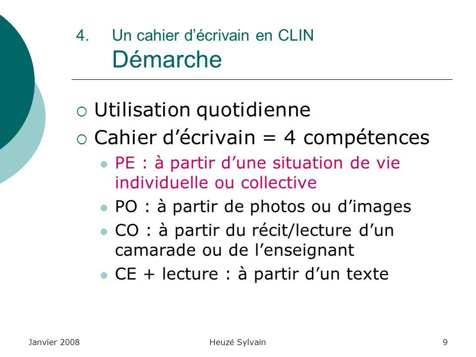 Janvier 2008Heuzé Sylvain10 4.Un cahier décrivain en CLIN Démarche Situation de vie individuelle ou collective EX.