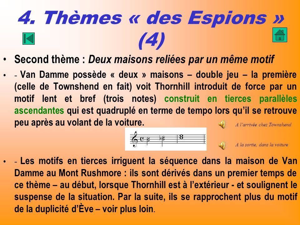 4. Thèmes « des Espions » (4) Second thème : Deux maisons reliées par un même motif - Van Damme possède « deux » maisons – double jeu – la première (c