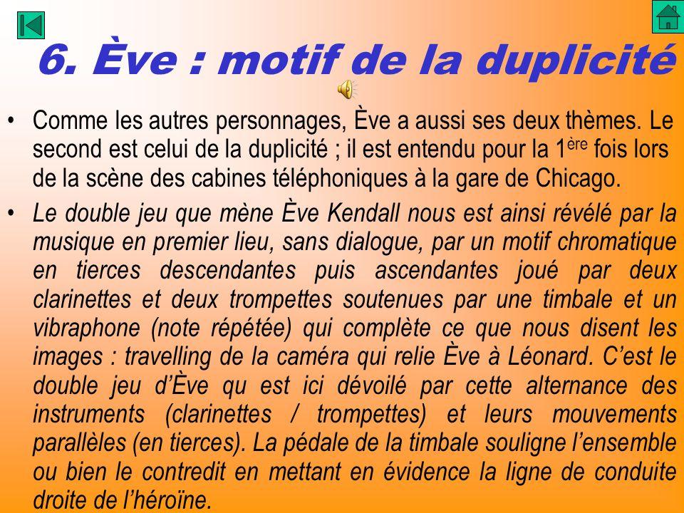 6. Ève : motif de la duplicité Comme les autres personnages, Ève a aussi ses deux thèmes. Le second est celui de la duplicité ; il est entendu pour la