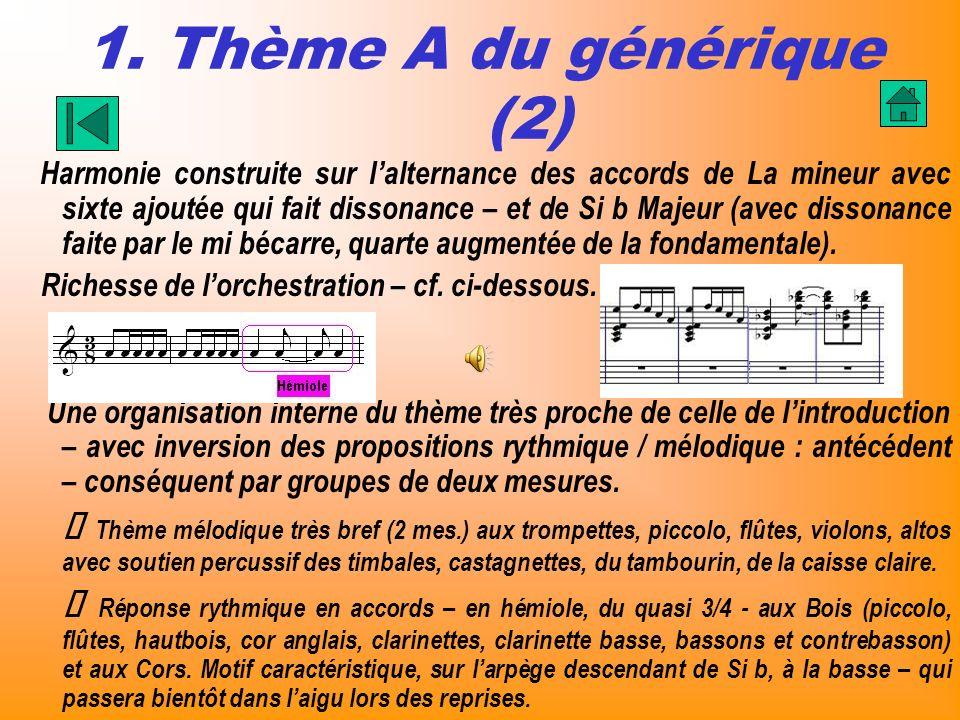 1. Thème A du générique (2) Harmonie construite sur lalternance des accords de La mineur avec sixte ajoutée qui fait dissonance – et de Si b Majeur (a