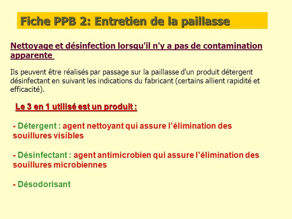 Fiche PPB 2: Entretien de la paillasse Nettoyage et désinfection lorsqu'il n'y a pas de contamination apparente Ils peuvent être réalisés par passage