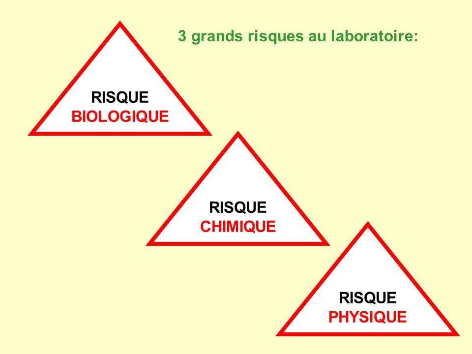 RISQUE BIOLOGIQUE RISQUE CHIMIQUE RISQUE PHYSIQUE 3 grands risques au laboratoire:
