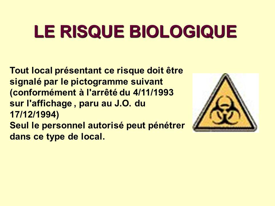 LE RISQUE BIOLOGIQUE Tout local présentant ce risque doit être signalé par le pictogramme suivant (conformément à l'arrêté du 4/11/1993 sur l'affichag