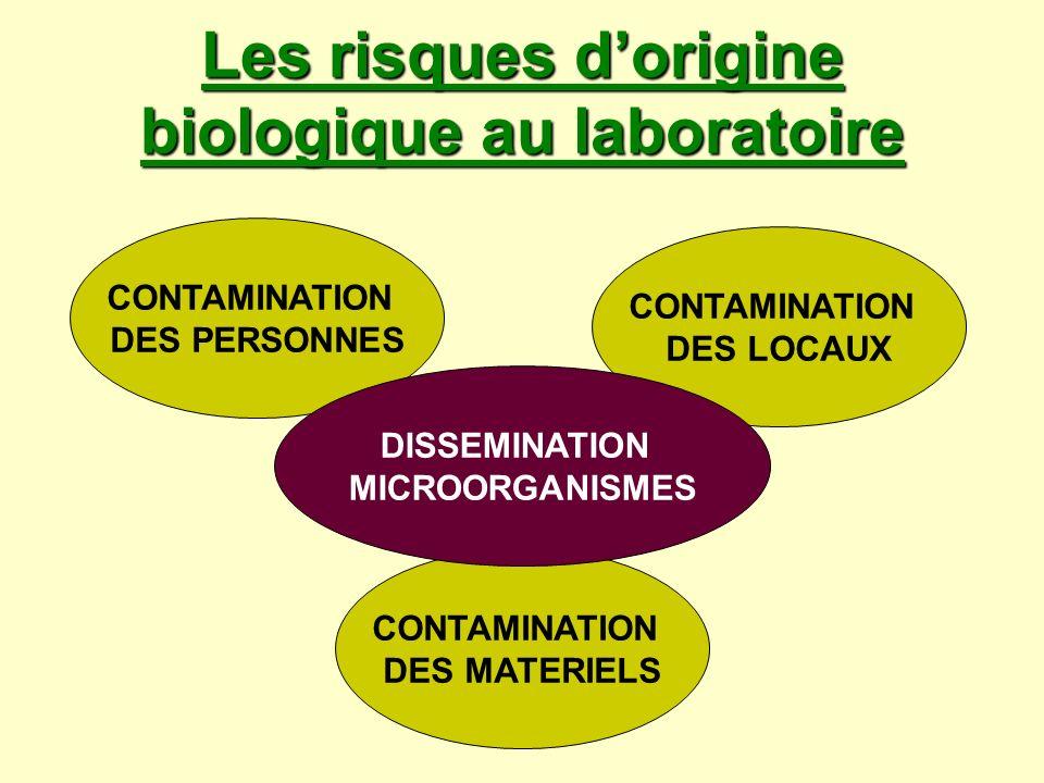 Les risques dorigine biologique au laboratoire CONTAMINATION DES PERSONNES CONTAMINATION DES LOCAUX CONTAMINATION DES MATERIELS DISSEMINATION MICROORG