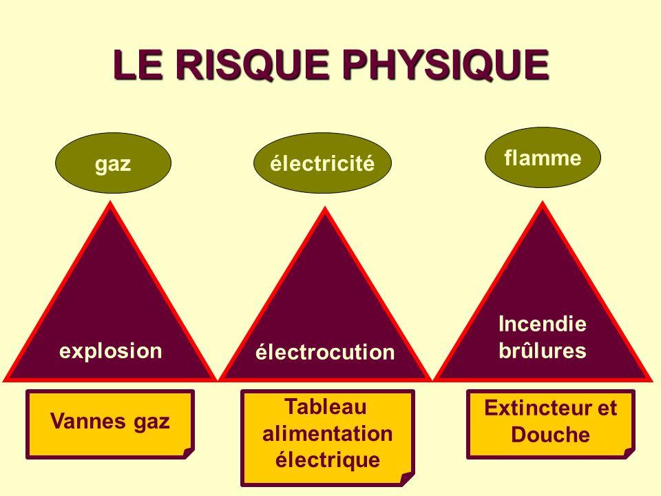LE RISQUE PHYSIQUE gazélectricité flamme explosion électrocution Incendie brûlures Vannes gaz Tableau alimentation électrique Extincteur et Douche