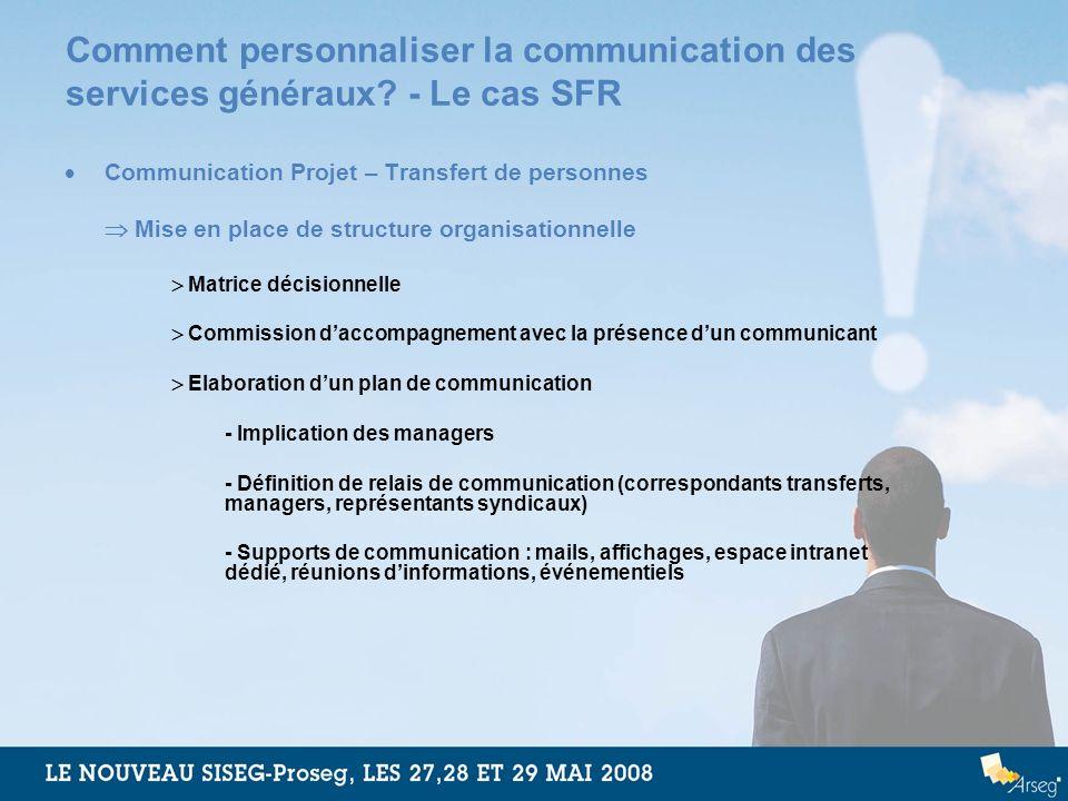 Comment personnaliser la communication des services généraux? - Le cas SFR Communication Projet – Transfert de personnes Mise en place de structure or