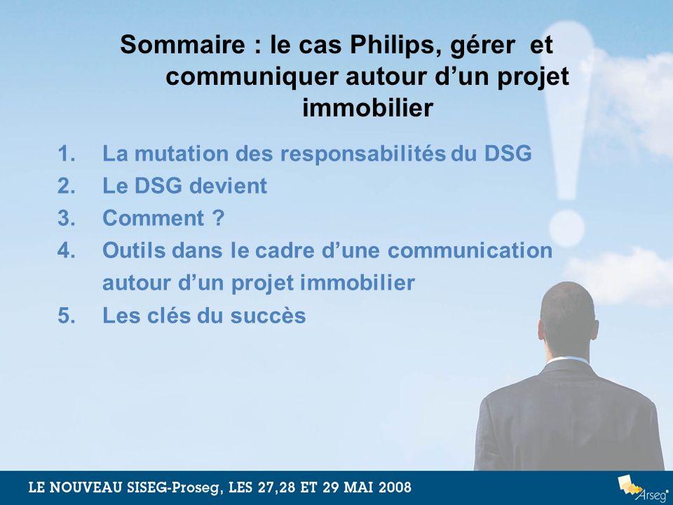 Sommaire : le cas Philips, gérer et communiquer autour dun projet immobilier 1.La mutation des responsabilités du DSG 2.Le DSG devient 3.Comment ? 4.O