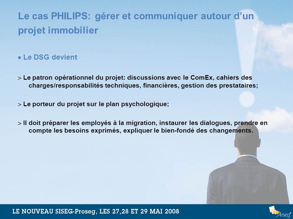Le cas PHILIPS: gérer et communiquer autour dun projet immobilier Le DSG devient Le patron opérationnel du projet: discussions avec le ComEx, cahiers