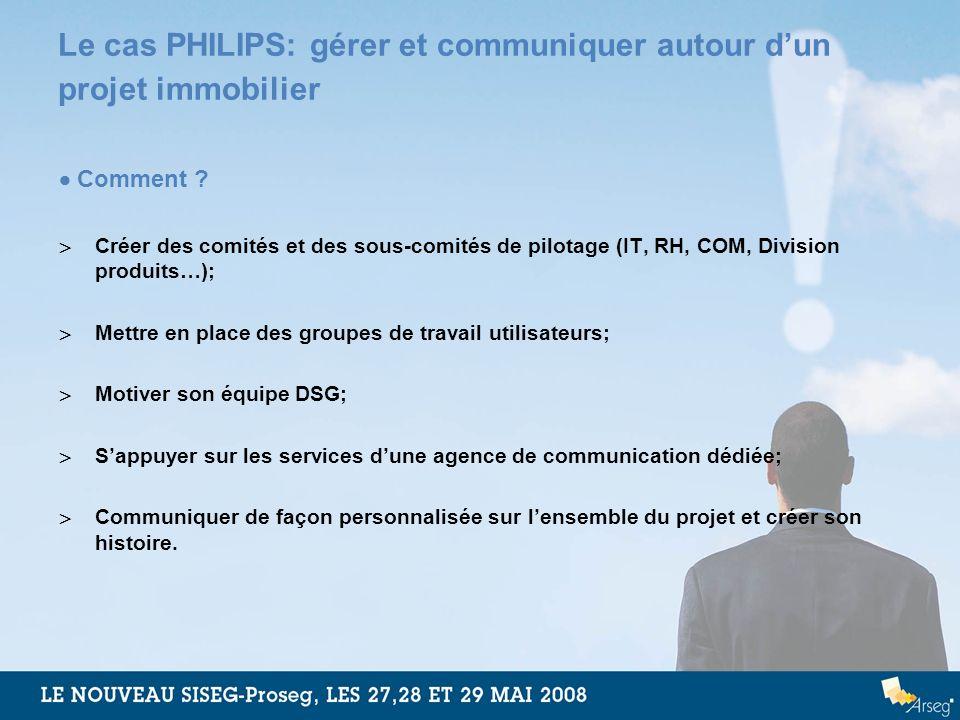 Le cas PHILIPS: gérer et communiquer autour dun projet immobilier Comment ? Créer des comités et des sous-comités de pilotage (IT, RH, COM, Division p