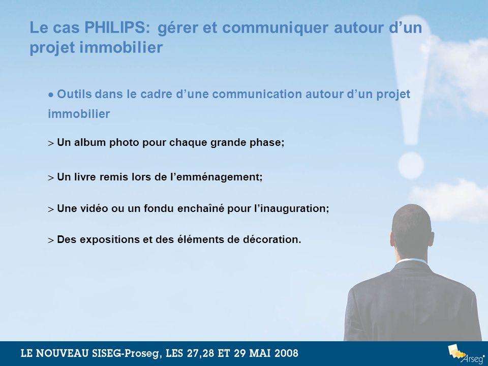 Le cas PHILIPS: gérer et communiquer autour dun projet immobilier Outils dans le cadre dune communication autour dun projet immobilier Un album photo