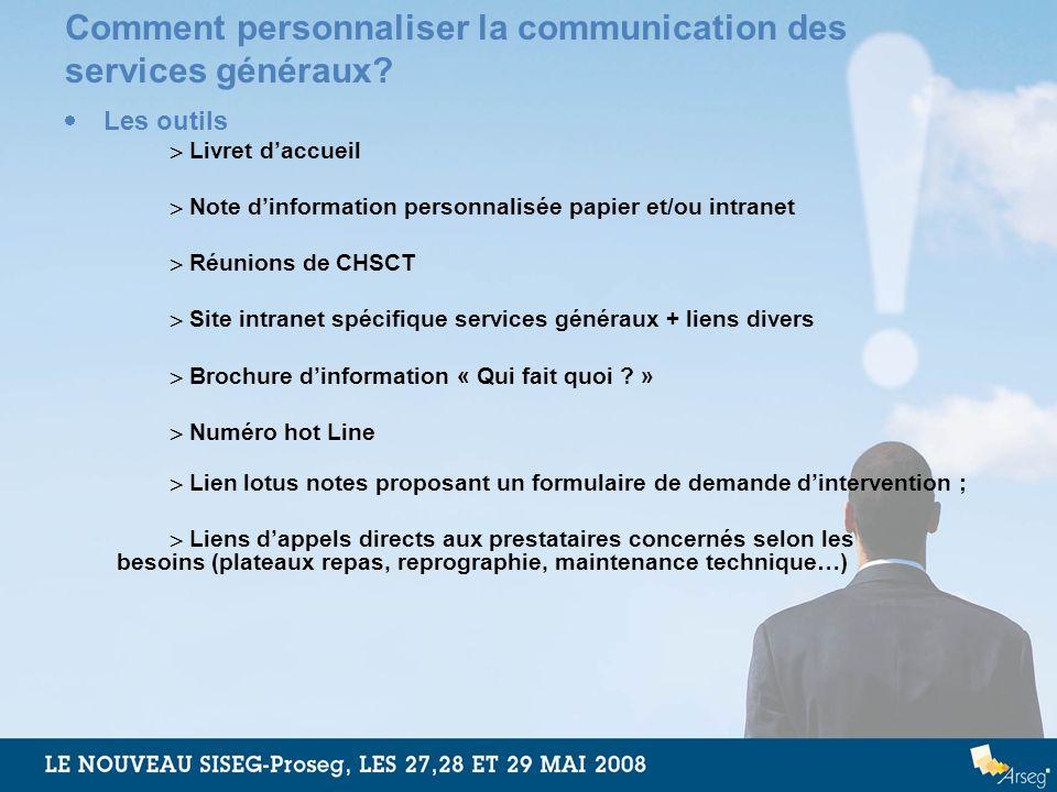 Comment personnaliser la communication des services généraux? Les outils Livret daccueil Note dinformation personnalisée papier et/ou intranet Réunion