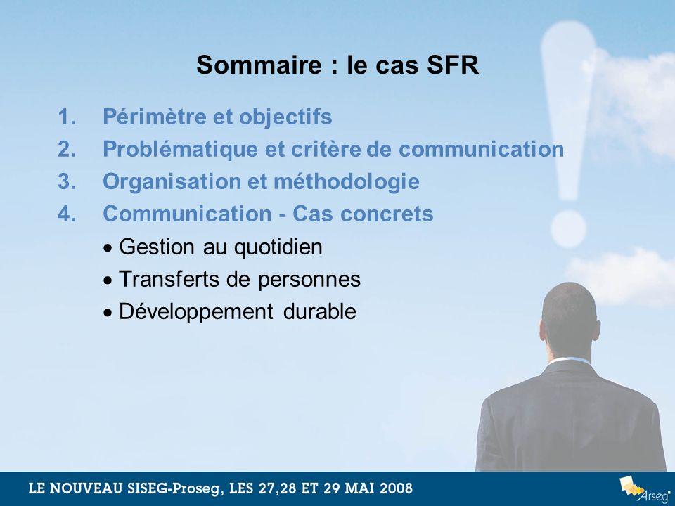 Sommaire : le cas SFR 1.Périmètre et objectifs 2.Problématique et critère de communication 3.Organisation et méthodologie 4.Communication - Cas concre