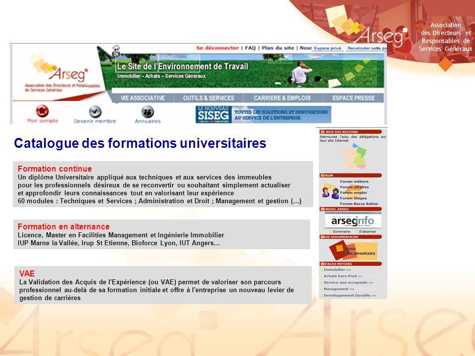 Association des Directeurs et Responsables de Services Généraux Catalogue des formations universitaires Formation continue Un diplôme Universitaire ap